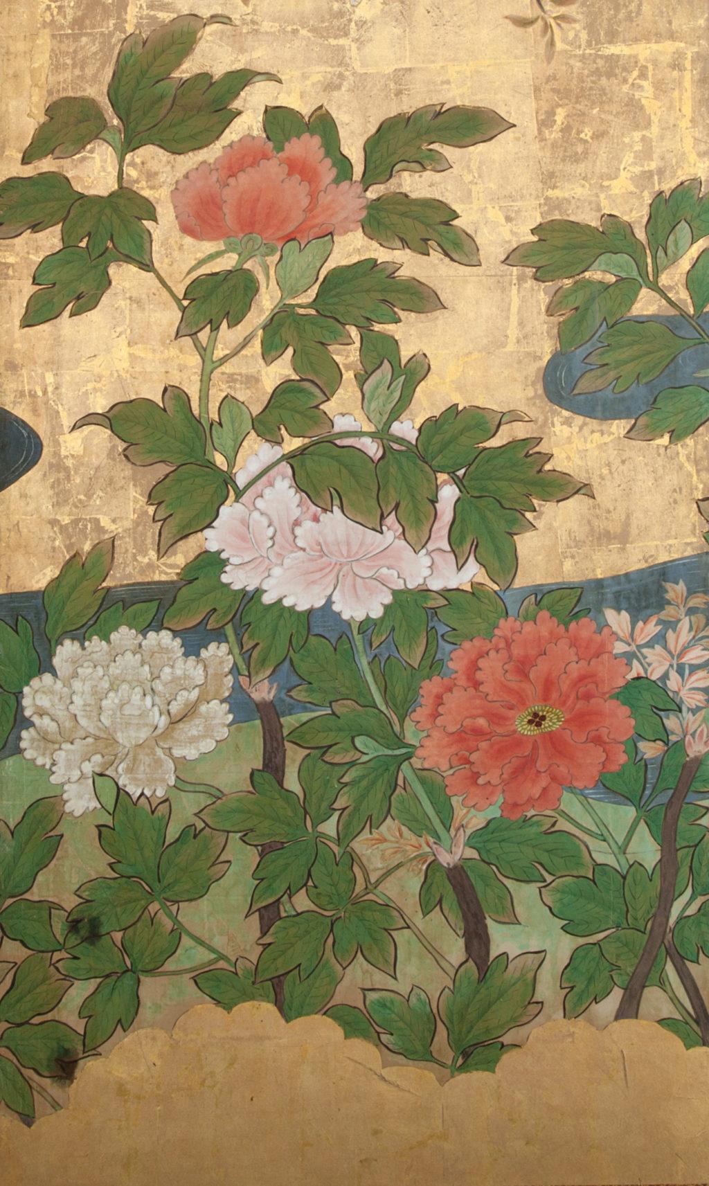 Japanese Six Panel Screen: Cherry in Bloom in Flowering Spring
