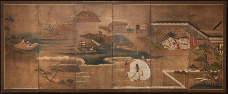 Japanese Six Panel Screen: Famous Scene from Lady Murasaki's Tale of Genji