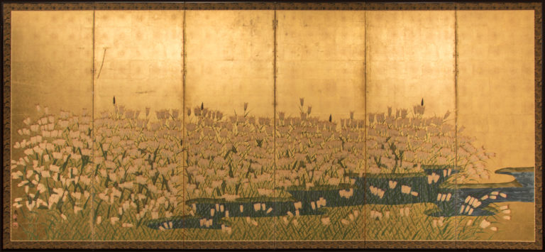 Japanese Six Panel Screen: Field of Wheat by River's Edge