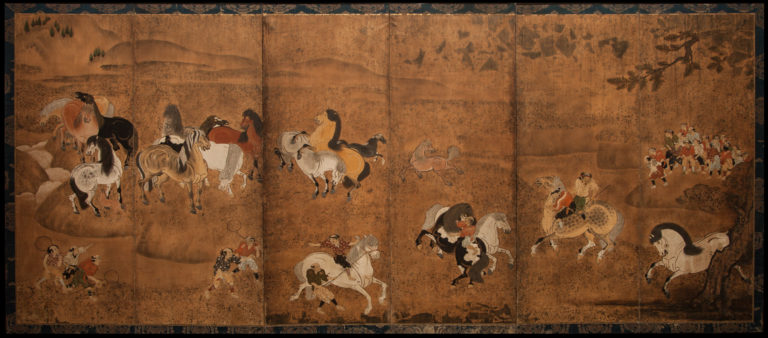 Japanese Six Panel Screen: Frolicking Horses From Chokaro Sennin's Gourd