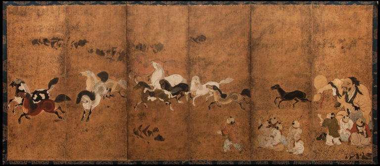 Japanese Six Panel Screen: Frolicking Horses From Chokaro Sennin's Gourd with Children