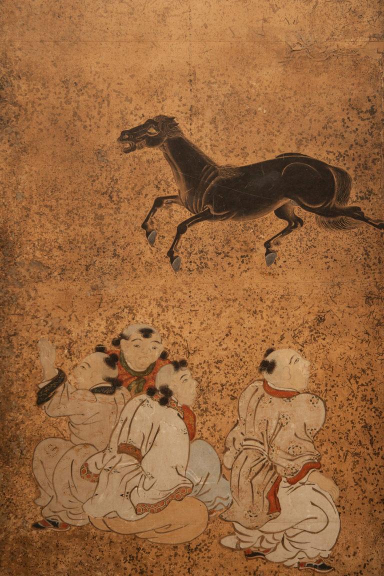 Japanese Six Panel Screen: Frolicking Horses From Chokaro Sennin's Gourd with Children