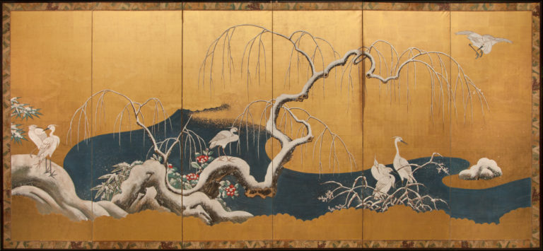 Japanese Six Panel Screen: Herons in Snowy Landscape