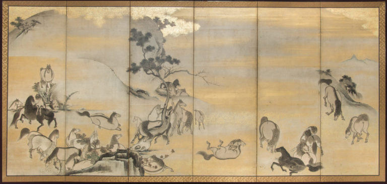 Japanese Six Panel Screen: Horses in Gentle Landscape