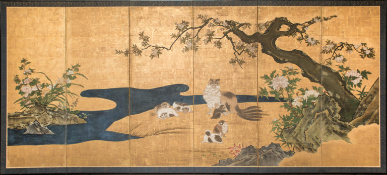 Japanese Six Panel Screen: Mother and Her Kittens