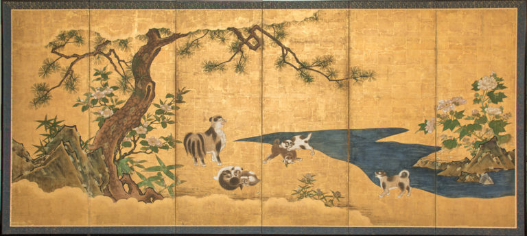 Japanese Six Panel Screen: Mother and Her Puppies (Asian Breed)
