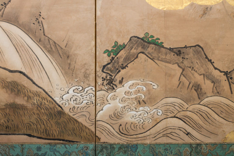 Japanese Six Panel Screen: Mother Cat and Kittens Near Rushing Stream