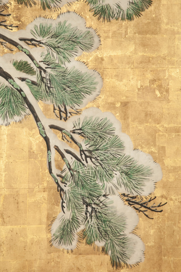Japanese Six Panel Screen: Pine in Snow on Heavy Gold Leaf