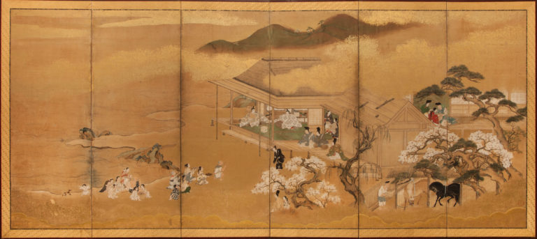 Japanese Six Panel Screen: Scene from the Tale of Genji