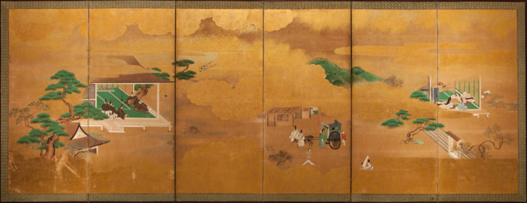 Japanese Six Panel Screen: Scenes from the Tale of Genji