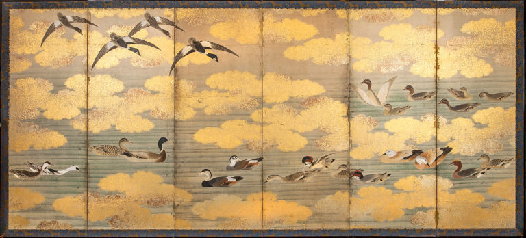 Japanese Six Panel Screen: Study of Waterfowl – A