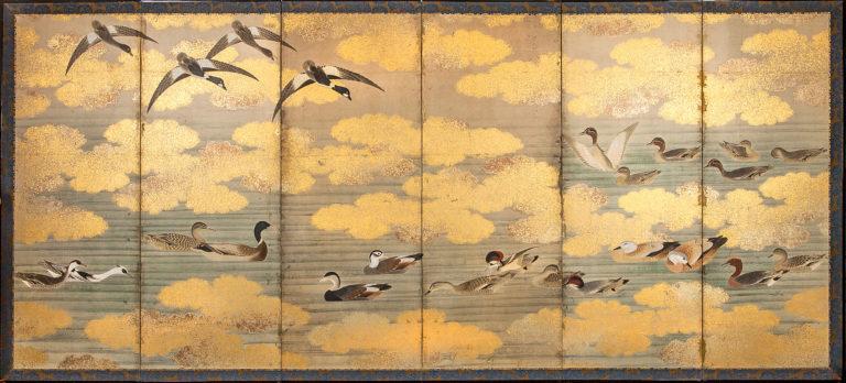 Japanese Six Panel Screen: Study of Waterfowl