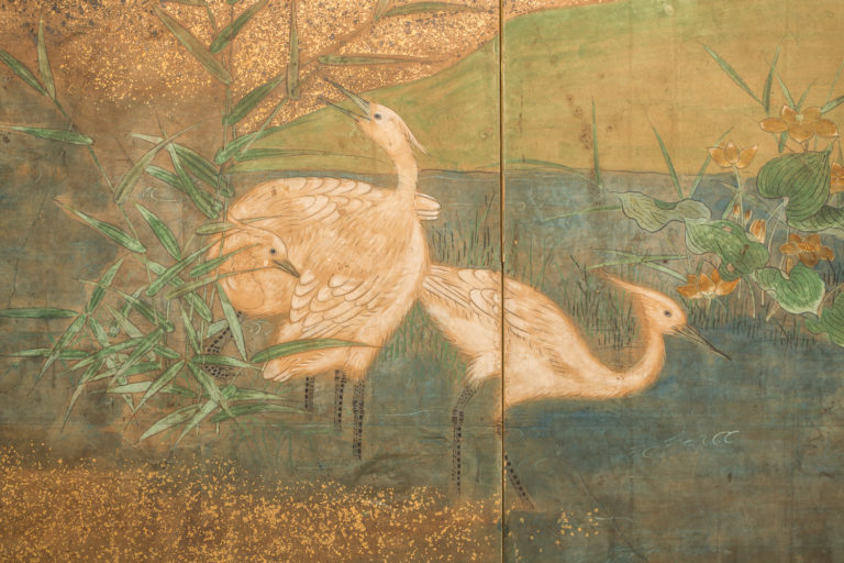 Japanese Six Panel Screen: Waterfall and Cherry in Audobon Landscape