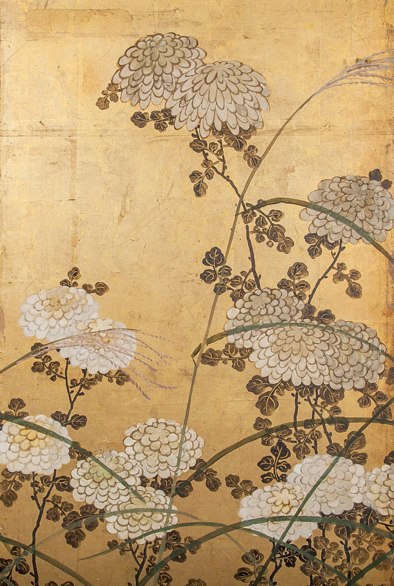 Japanese Six Panel Screen: White Chrysanthemums and Wild Grasses
