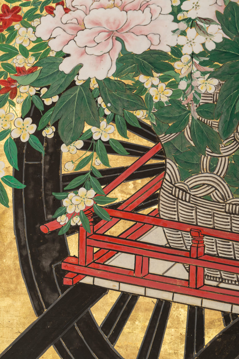 Japanese Six Panel Screens: Pair of Festival Carts