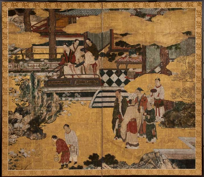 Japanese Two Panel Screen: Chinese Court Scene in a Garden Landscape