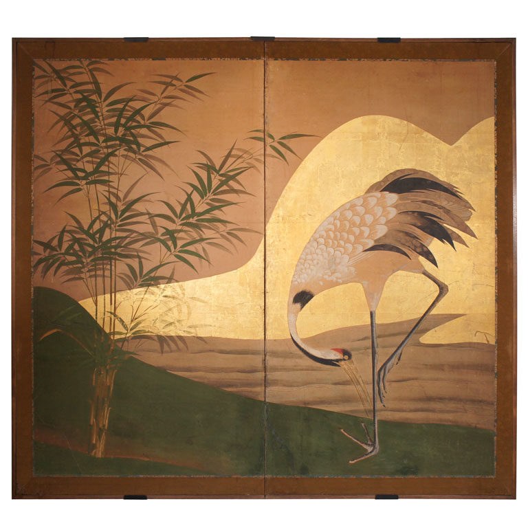 Japanese Two Panel Screen: Manchurian Crane by Water's Edge