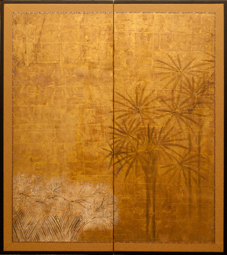 Japanese Two Panel Screen: Papyrus on Gold with Twig Fence