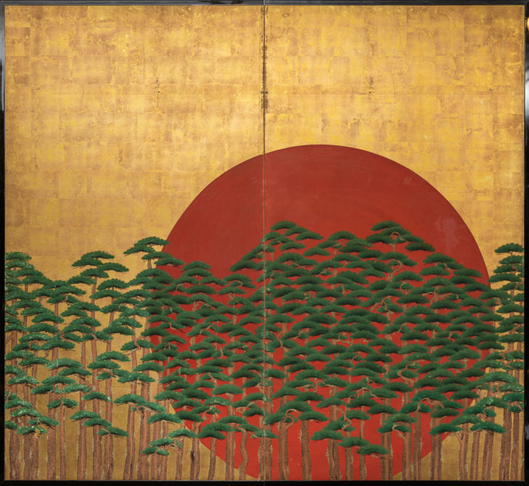 Japanese Two Panel Screen: Rising Sun Through the Pine