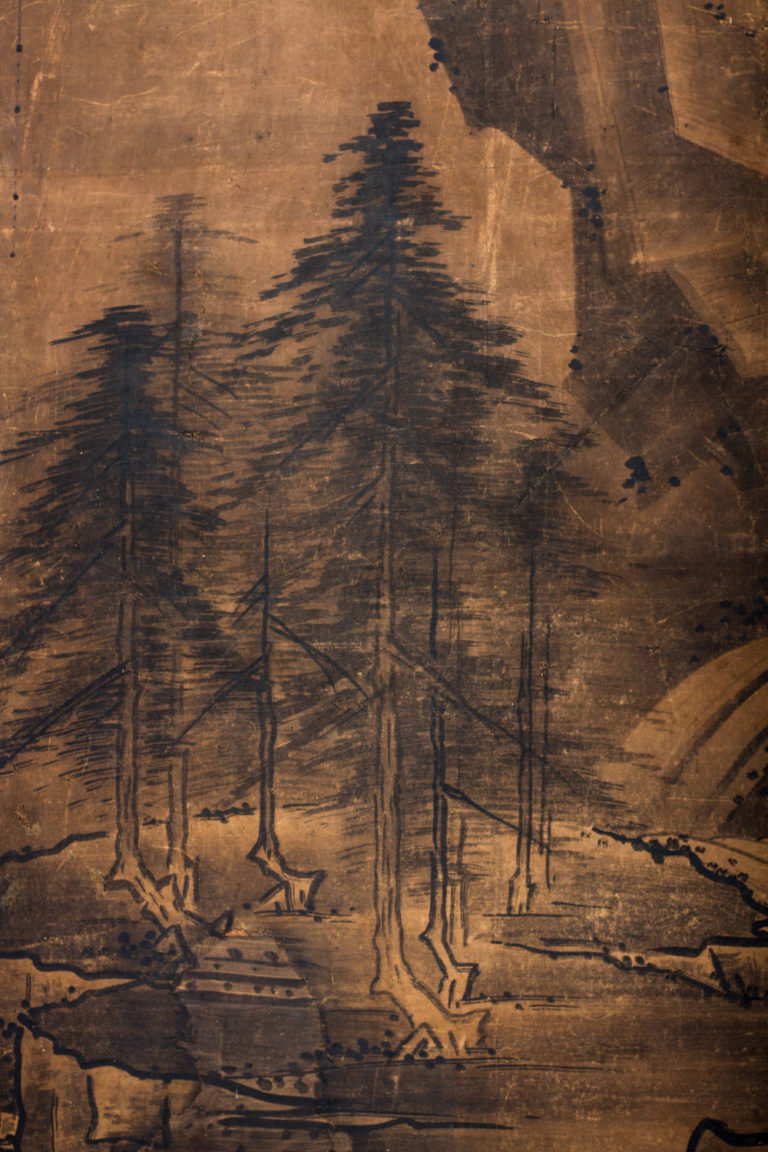 Japanese Two Panel Screen: Suiboku Landscape in Sesshu Style