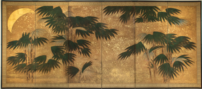 Japanese Six Panel Screen of Chinese Bamboo with Moon and Stars in Gold Leaf