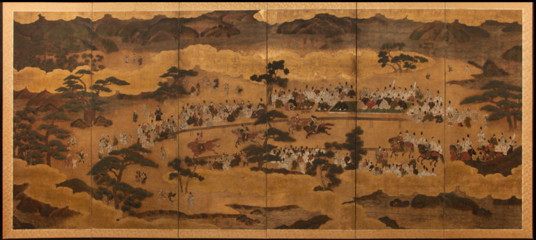 Japanese Six Panel Screen:  Horse Race at Kamo Shrine, Kyoto