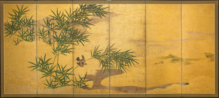 Japanese Six Panel Screen: Bamboo Grove with Beautifully Painted Bird and Meandering Stream