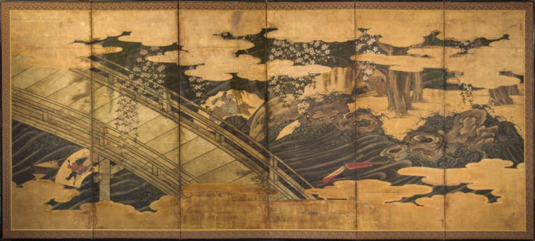 Japanese Six Panel Screen: Bridge over Fan-Strewn River