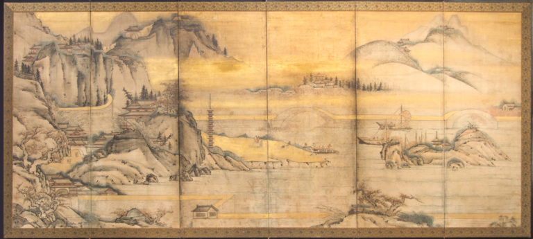 Japanese Six Panel Screen: Chinese Coastal Landscape
