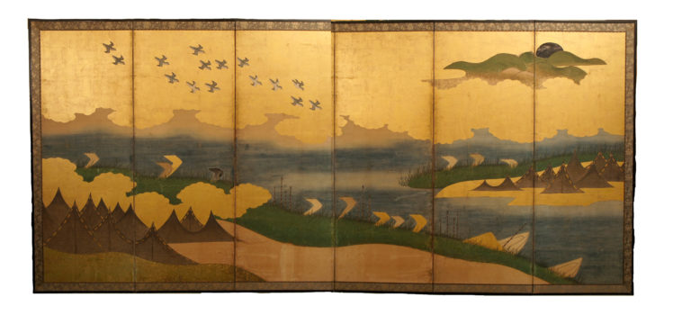 Japanese Six Panel Screen: Coastal Landscape