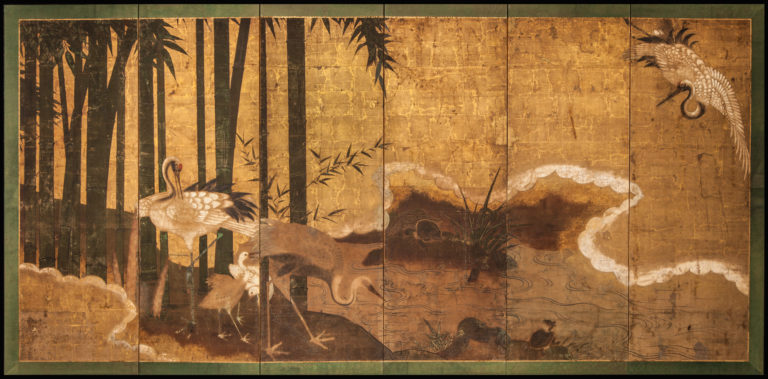 Japanese Six Panel Screen: Crane Family and Bamboo Grove