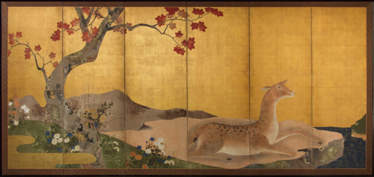 Japanese Six Panel Screen: Doe by Meandering River