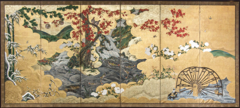 Japanese Six Panel Screen: Four Seasons