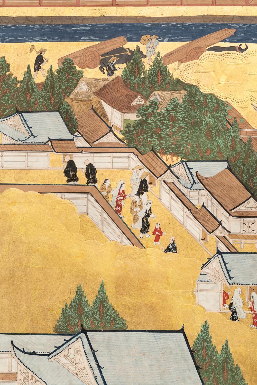 Japanese Six Panel Screen: Genre Scene