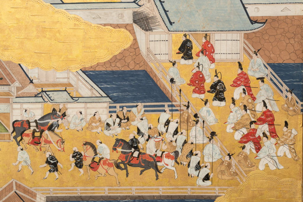 Japanese Six Panel Screen: Genre Scene