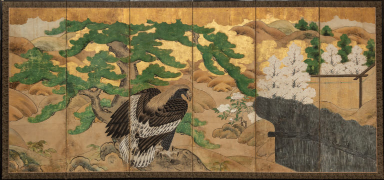 Japanese Six Panel Screen: Hawk with Ancient Pine