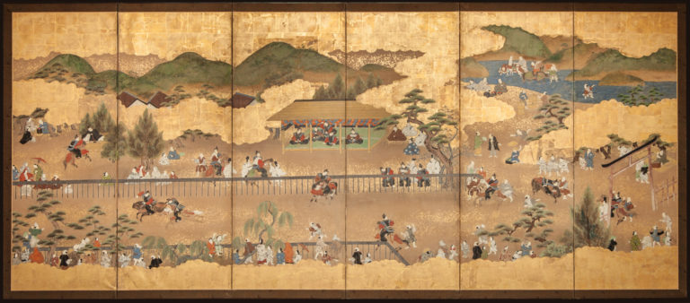 Japanese Six Panel Screen: Horse Race at Kamo Shrine