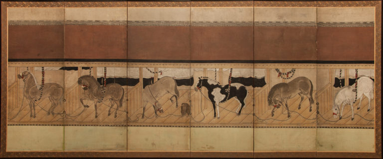 Japanese Six Panel Screen: Horses in Stable