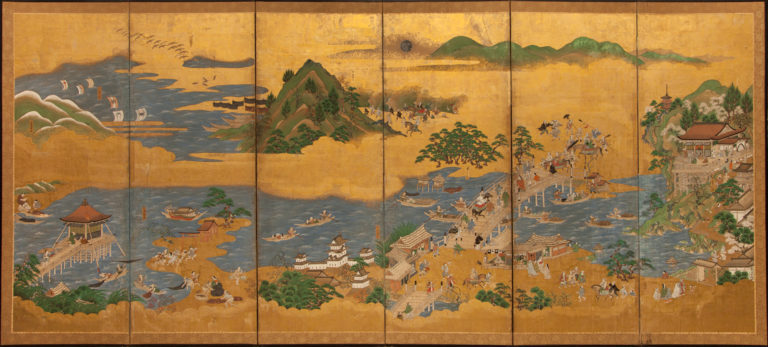 Japanese Six Panel Screen: Omi Hakkei (Eight Views of Omi)