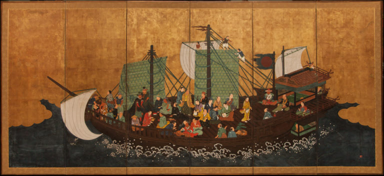 Japanese Six Panel Screen: Portuguese Gentlemen on a Japanese Ship (Namban screen)