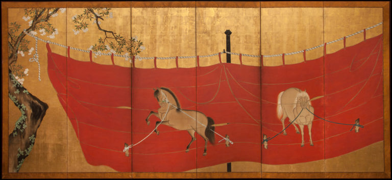 Japanese Six Panel Screen: Red Festival Awning