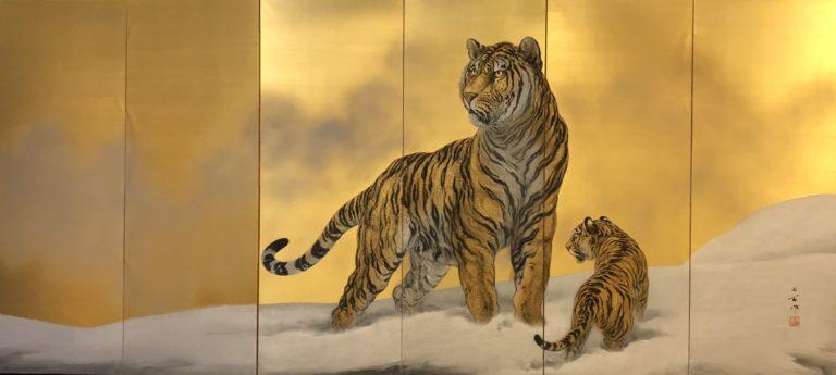 Japanese Six Panel Screen: Siberian Tigers