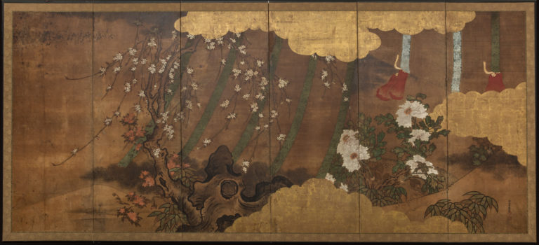 Japanese Six Panel Screen: Sudare in Garden with Breezes