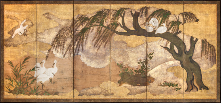 Japanese Six Panel Screen: Willow, Herons, and Water Landscape