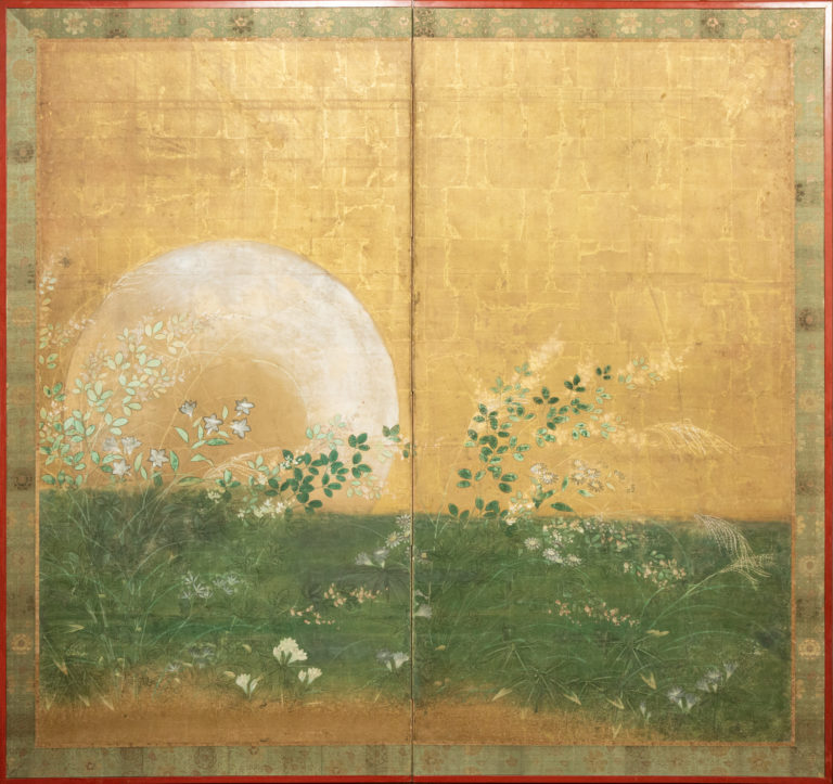 Japanese Two Panel Screen: Plains of Musashino with Full Moon Rising