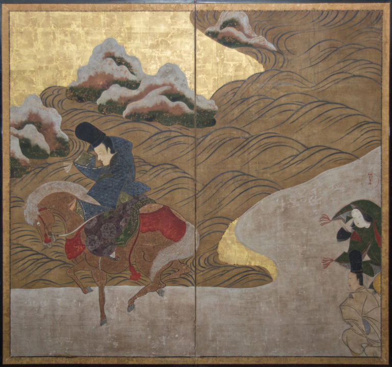 Japanese Two Panel Screen: Winter Scene from the Tale of Ise