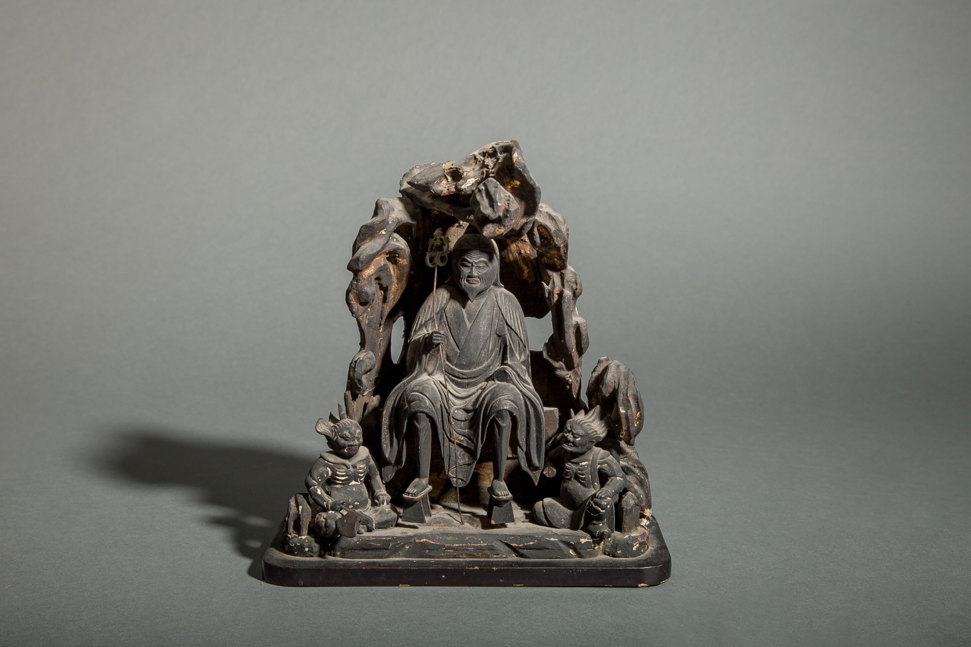 13th Century Wood and Lacquer Sculpture of En No Ozunu