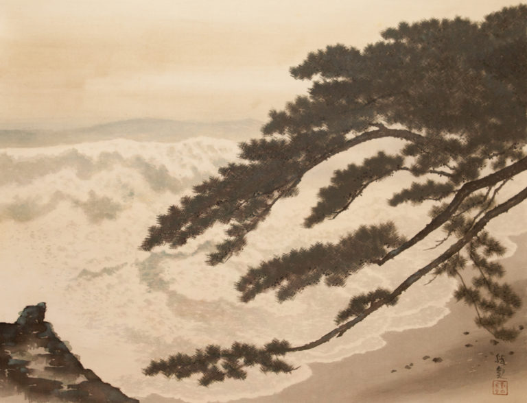 19th Century Japanese Scroll: Ocean Wave and Pine Tree