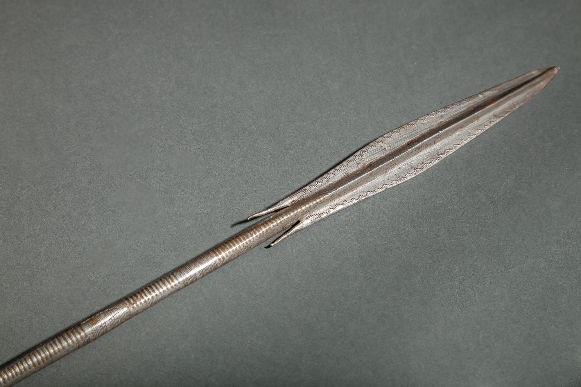 African Masai Spear with Leather Handle.