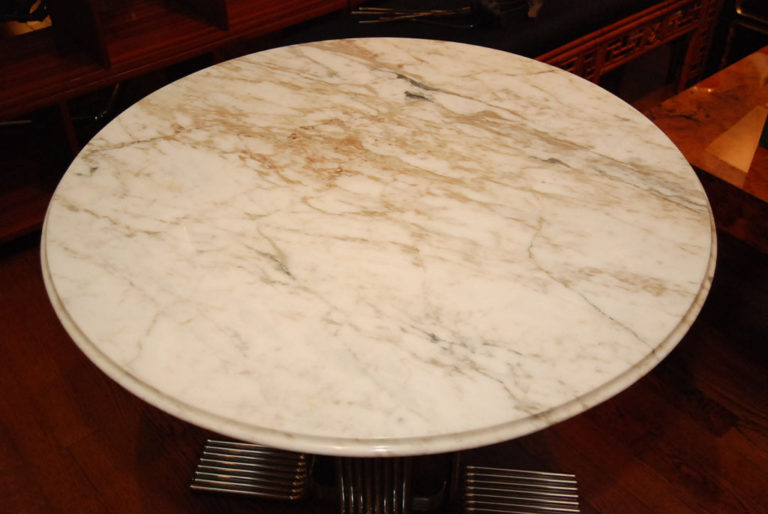 American Cararra Marble Top Table with Chrome Pedistal Base